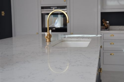 sideview of quartz worktops