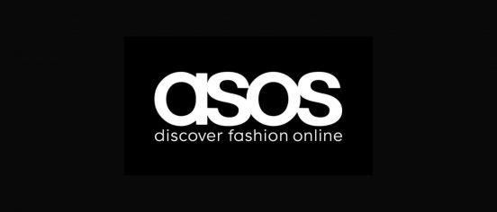 ASOS white logo on a black background
